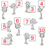 Stickman ring girl sign numbers Royalty Free Stock Image