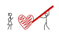 Stickman's valentine, stickmans in love (vector). Two stickmans in love draw a heart with a crayon (vector royalty free illustration
