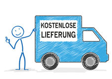 Stickman Shipping Car Free Shipment Stock Photography