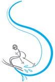 stickman skier Arkivbild