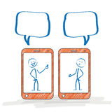 Stickman Smartphone Discussion Stock Photography