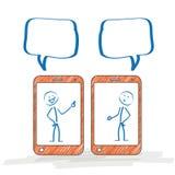 Stickman Smartphone dyskusja ilustracja wektor