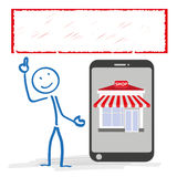 Stickman Smartphone Shop Banner Royalty Free Stock Photos