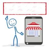 Stickman Smartphone Shop Banner Royalty Free Stock Photos