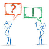 Stickman 2 Speech Bubbles Question Answer Royalty Free Stock Photography