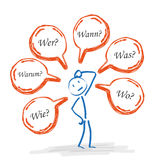 Stickman Speech Bubbles Questions Royalty Free Stock Image