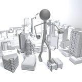 Stickman - Stadt Lizenzfreie Abbildung
