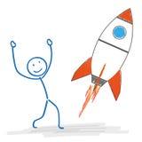 Stickman Starting Rocket Stock Image