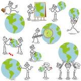 Stickman stick figure business globe. Set of vector stick figures: Business stick man with globe, pins and magnifying glass Stock Photo