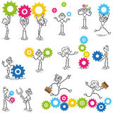 Stickman stick figure cog wheel construction engineer. Set of vector stick figures: Stickman with cog wheels, gears, interacting with coworkers, teamwork Stock Images
