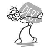Stickman stick figure debt rock burden. Vector stick figure: Stickman carrying huge rock labeled debt Stock Photography