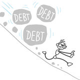 Stickman stick figure debt rock landslide. Vector stick figure: Stickman escaping from triggered landslide with huge rocks labeled debt Stock Photography