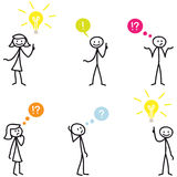 Stickman stick figure light bulb idea question Royalty Free Stock Photos