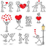 Stickman stick figure in love couple heart kiss. Set of vector stick figures: Stickman and woman in love, with hearts, holding hands, kissing Stock Photo
