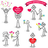 Stickman stick figure mothers day love flowers vector illustration