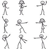 Stickman stick figure pointing showing directions. Set of vector stick figures: Stickman pointing and showing directions Royalty Free Stock Photos