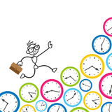 Stickman stick figure time management clock deadline. Conceptual vector stick figure illustration: Stickman running on clocks, being stressed, rushing to meet Stock Photos