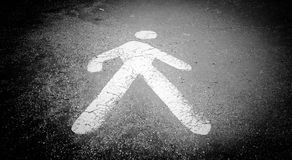 StickMan in the street. Signposting road in black and white royalty free stock photo