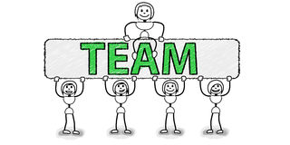 Stickman team with board Royalty Free Stock Photography