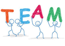 Stickman Team. 4 stickmen with text TEAM on the white Royalty Free Stock Images