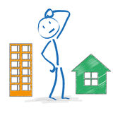 Stickman Thinking Apartment Or House Stock Image