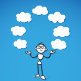 Stickman thoughts cloud blank. Vector stick figure illustration: Stickman juggling with blank cloud symbols on blue background Stock Photography