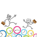 Stickman time management deadline appointment. Conceptual vector stick figure illustration: Happy and eager business stickman and woman running on clocks Stock Photo