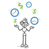 Stickman time is money, productivity. Conceptual vector stick figure illustration: Stickman juggling with dollar signs and clocks, symbolizing time is money and Royalty Free Stock Images