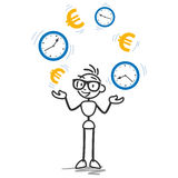 Stickman time is money, productivity. Conceptual vector stick figure illustration: Stickman juggling with euro signs and clocks, symbolizing time is money and Royalty Free Stock Photography