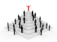 Stickman on top of a pyramid. 3d render illustration of a red stickman on top of a pyramid Stock Images