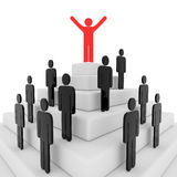 Stickman on top of a pyramid Stock Photo