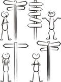 Stickman way direction vector set. Vector outlines of stick man contemplate what way royalty free illustration
