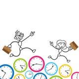 Stickman-Zeitmanagement-Fristenverabredung Stockfoto