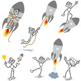 Stickmanraket in brand gestoken startgroepswerk royalty-vrije illustratie