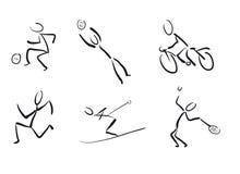 Stickmans als sportpictogrammen Stock Afbeeldingen