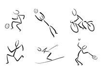 Stickmans as sport pictograms. Hand drawn stickmans as sport pictograms Stock Images