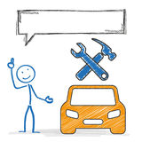Stickmen Car Repair Shop Speech Bubble. Stickman with speech bubble, car and tools symbols Stock Photography