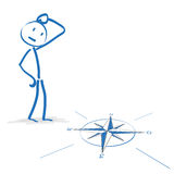 Stickmen Compass Decision Royalty Free Stock Photos