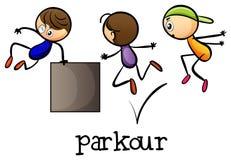 Stickmen die parkour spelen Stock Foto's