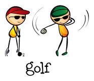 Stickmen jouant le golf Photos stock