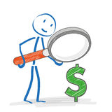Stickmen Loupe Dollar Royalty Free Stock Photography