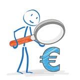 Stickmen Loupe Euro Royalty Free Stock Images