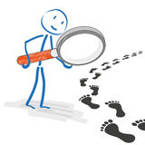 Stickmen Loupe Footprint Track Stock Photo