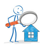 Stickmen Loupe House Royalty Free Stock Photography