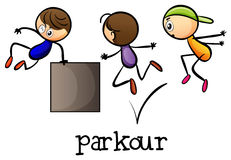 Stickmen playing parkour Stock Photos