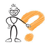 Stickmen with questionmark sign Royalty Free Stock Images