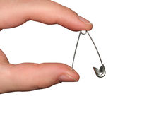 The Stickpin. The Stickpin is jammed between finger of the feminine hand Royalty Free Stock Photography
