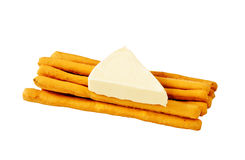 Sticks And Cheese. Diet Breakfast of Salt Sticks and Triangular Cheese Royalty Free Stock Images