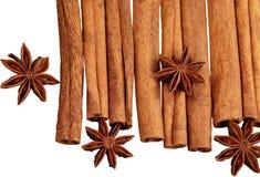 Cinnamon sticks with anis isolated on white. Sticks cinnamon anis white background nobody close-up Stock Photo