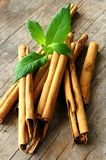 Sticks of cinnamon with mint leaf Stock Photos